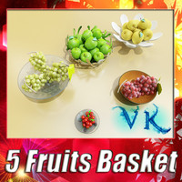 3D Model Fruit in Bowls Collection 3D Model