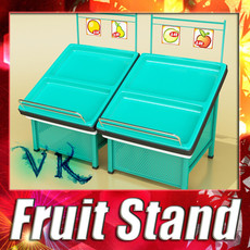 3D Model Fruits Stand Store Display Smoothable 3D Model