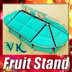 3D Model Fruit Stand Store Display Smoothable. 3D Model