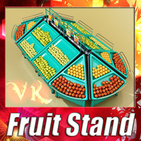 3D Model Fruit Stand Store Display 3D Model