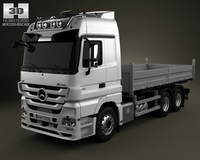 Mercedes-Benz Actros Flatbed 3-axis 2011 3D Model
