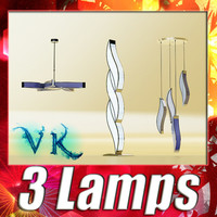 3D Model 3 Pendant Lamps Collection 3D Model