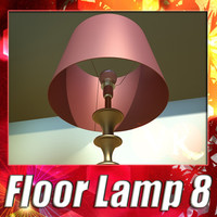 3D Model Modern Floor Lamp 08 Lunette 3D Model