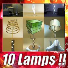 3D Model 10 Modern Floor Lamps. 3D Model