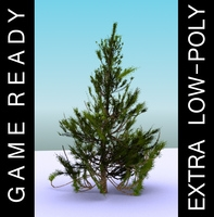 GameReady Low Poly Tree Pack 2 (Aleppo Pine) 3D Model