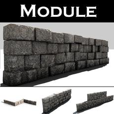 Stone wall module 3D Model