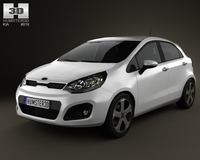 Kia Rio hatchback 5-door 2011 with HQ Interior 3D Model