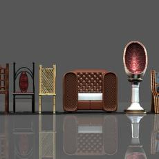 Chair collection 3D Model
