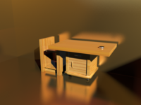 Free small desk in wood 3D Model