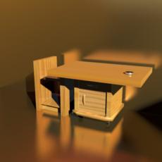 small desk in wood 3D Model