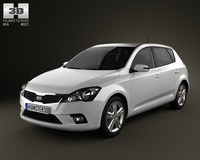 Kia Ceed hatchback 5-door 2011 with HQ Interior 3D Model