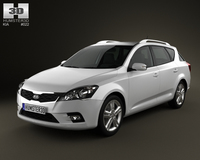 Kia Ceed SW 2011 with HQ Interior 3D Model