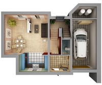 Home Interior Floor Plan 01 3D Model