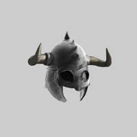Medieval helmet with horns 3D Model