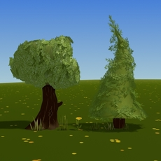 cartoon trees and plants 3D Model