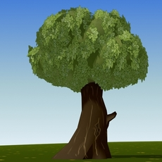 cartoon leave tree 3D Model