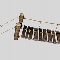 Rope & Wood Plank Suspension Bridge 3D Model