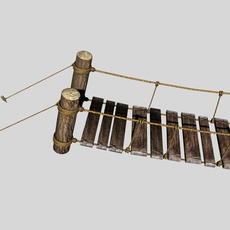 Rope & Wood Plank Suspension Bridge 3D Model