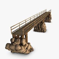 Wooden bridge with rocks 3D Model