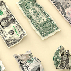 Crumpled US Money 3D Model