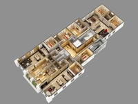 3D Model Cutaway Residential Building 3D Model