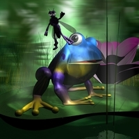 Frogs and Mosquito in a complete cartoon scene 3D Model