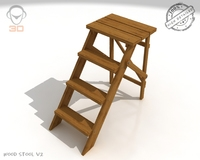 Step Lader Wood V2 3D Model