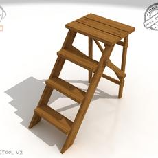 Step Lader Wood V2 3D Model