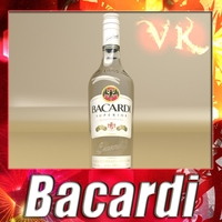 Photorealistic Liquor Bottle : Bacardi Superior. 3D Model