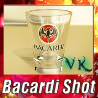 Photorealistic Bacardi Rum Shot Glass. 3D Model
