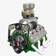 Early Flathead with S.Co.T. Blower V8 Engine 3D Model