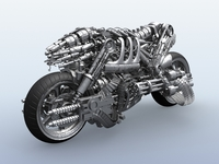 Terminator Robot Motorcycle 3D Model