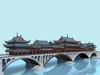 China ancient birdgr 1 YaAn Wind and Rain porch Bridge DAY scene 3D Model
