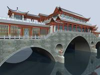 China ancient birdge 2 AnShun bridge day scene 3D Model