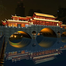 China ancient birdge 2 AnShun bridge night scene 3D Model