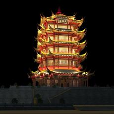The Huanghelou Tower night sence 3D Model