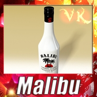 High Detailed Liquor Bottle : Malibu. 3D Model