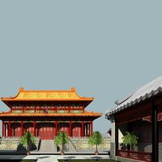 The Luohanyuan with Twins White Pagoda 3D Model