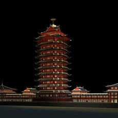 The Shita Tower night scene 3D Model