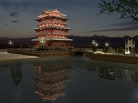 The Tengwangge Tower Night sence 3D Model