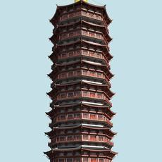 The TianNing Temple Pagoda 3D Model