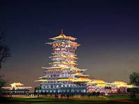 The Yuewanglou Tower Night sence 3D Model
