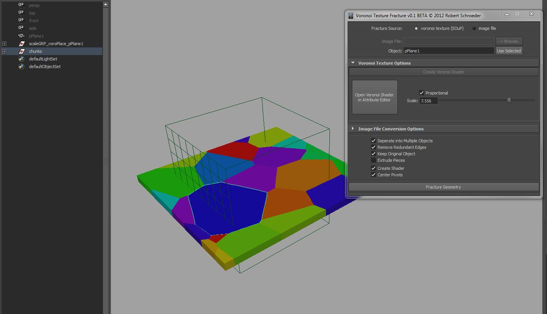 Voronoi Texture Fracture for Maya
