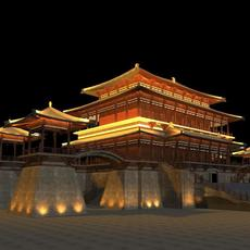 China Temple lighting 1 3D Model