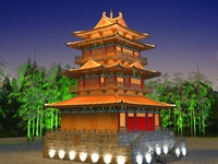 China Temple lighting 2 3D Model
