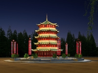 China Temple lighting 5 3D Model