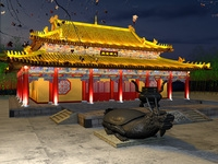 China Temple lighting 6 3D Model