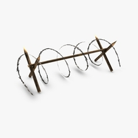 Barbed wire barricade 3D Model