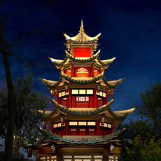 China Temple lighting 8 3D Model