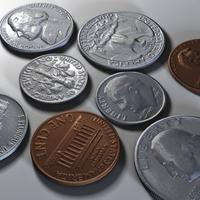 US Coins Collection C4d 3D Model
